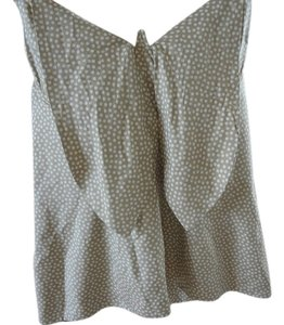 NICOLE FARHI Light Green & Cream Silk Halter Top