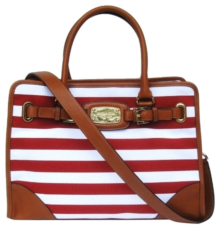 Michael Kors Handbag Summer Purse New Leather Canvas Satchel In Red White