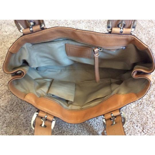 Coach Satchel in White And Tan