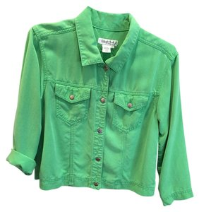Coldwater Creek Green Lightweight Comfortable Casual Metal Buttons Lime Green Womens Jean Jacket