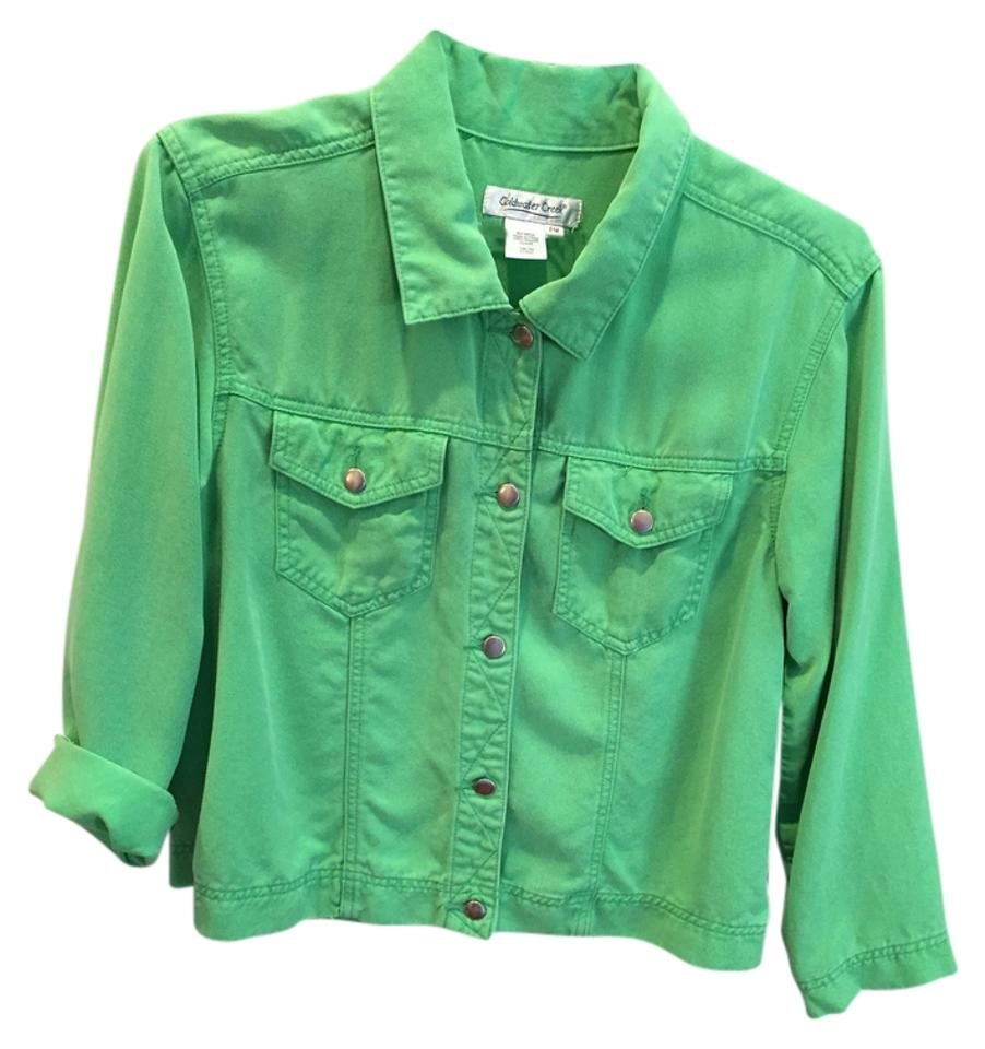 8926902d Coldwater Creek Lightweight Comfortable Casual Metal Buttons Lime Green  Womens Jean Jacket …