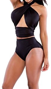 Women's Rockabilly Women's Rockabilly Bandage Wrap Halter Top High Waist Retro Bikini Swimsuit. Size Small To XLarge