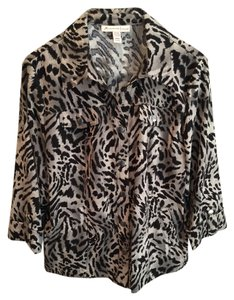 JM Collection Animal Print Comfortable Black and Gray Jacket