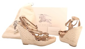 Burberry Designer Designer Metallic Espadrille Gold Wedges