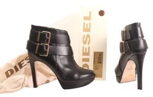 Diesel Leather Platform Buckle Black Boots