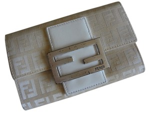 Fendi Fendi Zucca Pattern Cream & Gold Bi-Fold Wallet