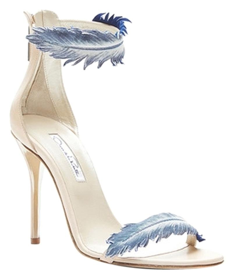 Oscar de Healed la Renta Cream/Blue Aubree Healed de Sandals e5e322