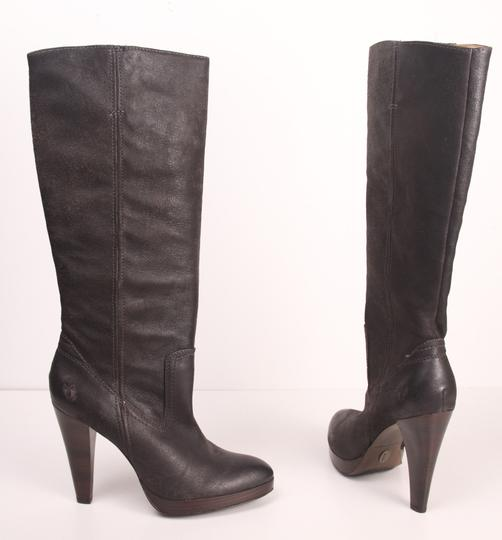 Frye Harlow Campus Knee High Tall Leather Charcoal Boots