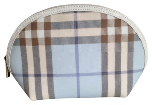Burberry Burberry London Blue Nova Check Plaid PVC/Leather Pouch Cosmetic Bag