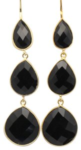 Black Onyx Gemstone Triple Drop Earrings