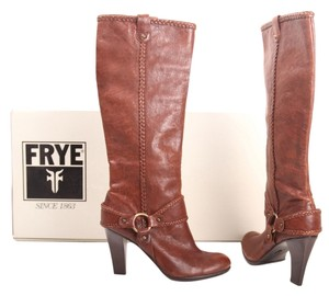 Frye Vicki Harness Western Leather Buckle Brown Boots