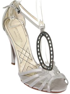 Alberta Ferretti Cocktail Evening Wedding Jeweled Crystal T-strap Satin Strappy Grey, Pewter, Gunmetal Formal
