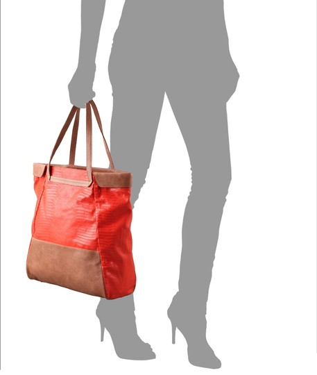 Be&D Canvas Leather Tote in Orange