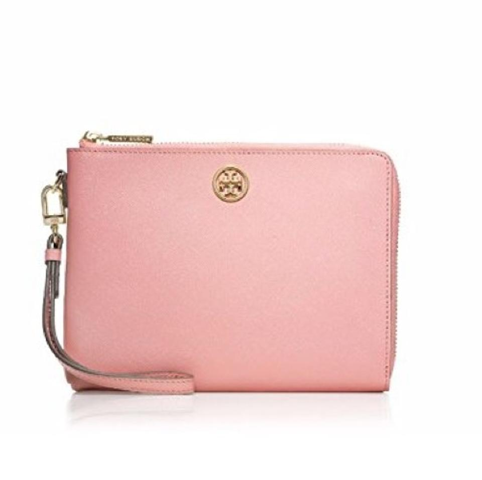 17cd45a8a3 Tory Burch Light Pink Robinson Large Wristlet Clutch New with Tags ...