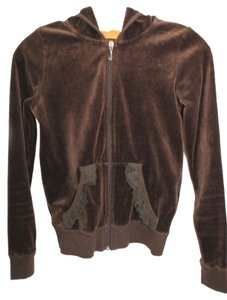 Juicy Couture JUICY COUTURE DARK BROWN VELOUR HOODIE S