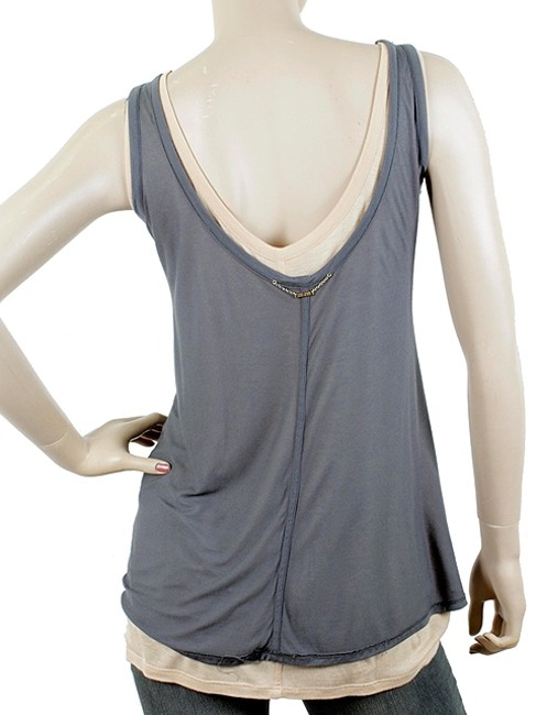 The Row Layered Two-tone Slouch Jersey Top Grey, Gray, Peach