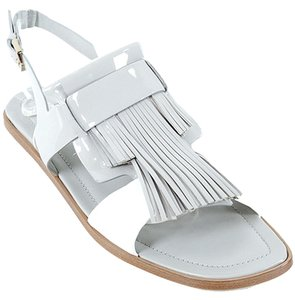 Tod's Two-tone Patent Leather White, Gray, Grey Sandals