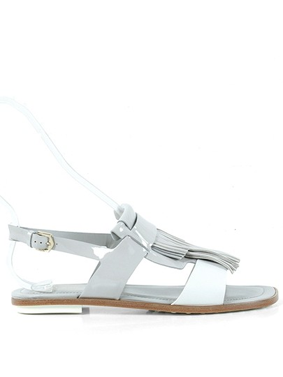 Tod's Two-tone Patent Leather Patent Fringe Flat Casual White, Gray, Grey Sandals