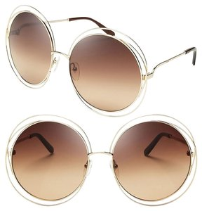 4cbb15e04b59 Chloé Chloe Carlina Round Wire-Frame Sunglasses Rose Gold Transparent Beige  Shaded