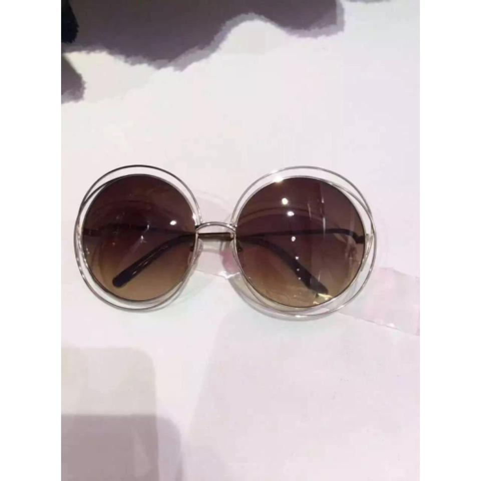 e47323be26c2c Chloé Chloe Carlina Round Wire-Frame Sunglasses Rose Gold Transparent Beige  Shaded Image 4. 12345