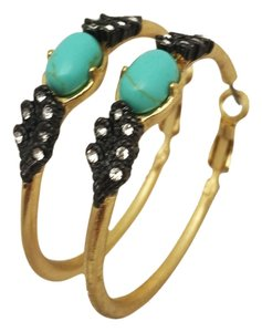 Turquoise crystal and gold Hoop Earrings