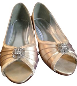 Michelangelo Satin Open Toe Embellished Champagne Wedges