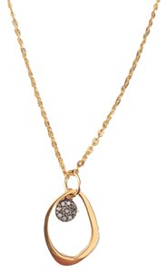 Other Gold Abstract Open Charm with Pave Diamond Charm Necklace