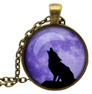 Purple Bronze Howling Wolf Necklace Free Shipping