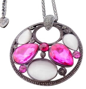 Betsey Johnson Betsey Johnson Oval Inlaid Pink Crystal Drop Necklace