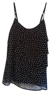 New York & Company Polka Dot Shelf Bra Top Navy