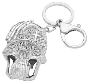 Other Rhinestone Crystal Cross Accent Silver/Rhodium Skullz Charm Keychain HandBag Halloween Accessory