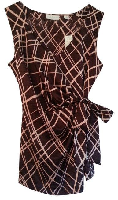 New York & Company Wrap With Tags Top maroon