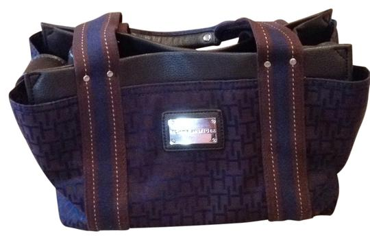 Tommy Hilfiger Satchel in Navy Blue And Brown