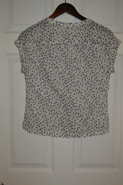 Gap Button Front Print Short Sleeve Button Down Shirt White