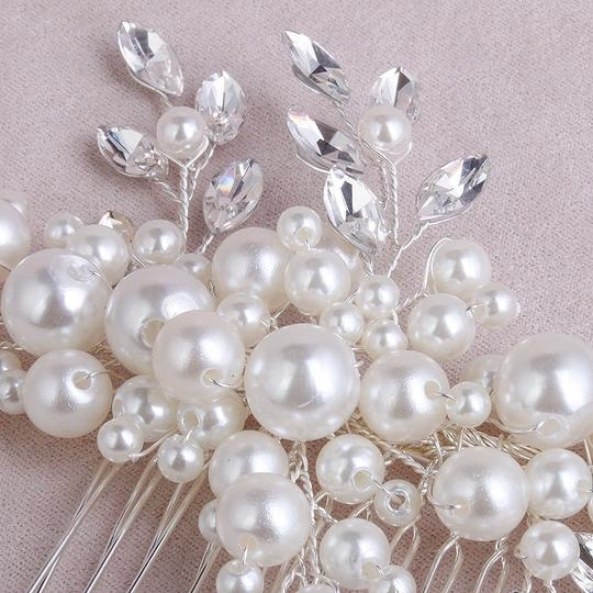 Silver Austrian Crystals Fresh Water Pearls Leaf Flower Comb Pin Hair Accessory
