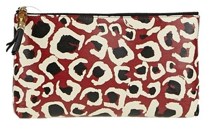 Gucci Leather Bamboo Leopard Red/Black Clutch