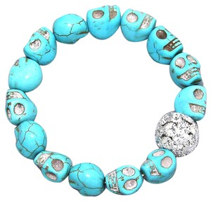 Other Turquoise Stone Crystal Accent Stretch Skull Bracelet