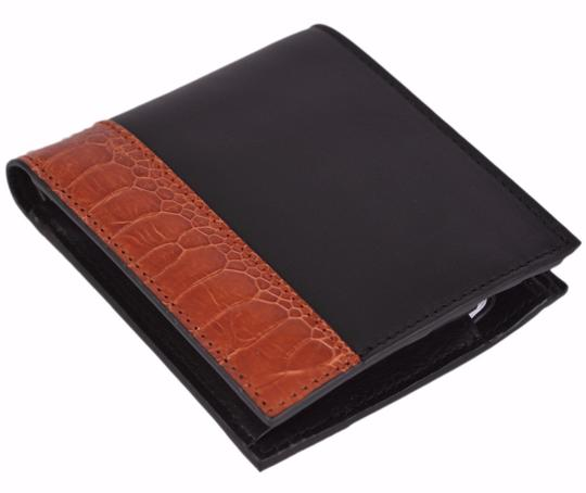 Gucci New Gucci Men's 256418 Mistral Moon Ostrich Skin Leather Bifold Wallet W/Coin