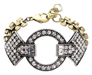 NEW Art Deco Style Gold Tone & Crystal Statement Bracelet