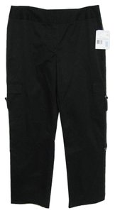 Liz Claiborne New Withttag Loop Buckle Pockets 14 L Large Audra Cotton Capri/Cropped Pants black