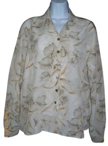 Evan Picone Floral Long Sleeve Large Vintage Top Beige