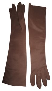Other Elbow Length Gloves (Brown) - Cotton - Size: Small