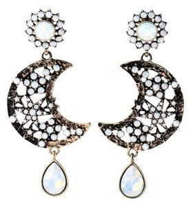NEW Opal Crystal Moon & Star Teardrop Earrings