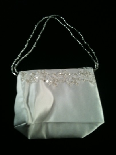 White Satin Bridal Purse With Beaded Handles And Beaded Accents