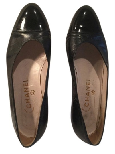 "Chanel Italian E36.5 9 1/8"" $70 OFF Black all leather patent capped toe Flats"