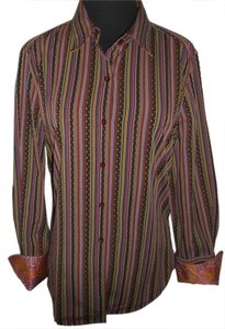 Robert Graham Button Down Shirt PLUM/PURPLE STRIPE