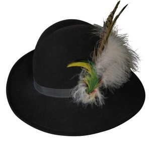 Vintage Felt Brown Hat with Plum & Feather