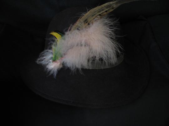 Other Vintage Felt Brown Hat with Plum & Feather