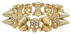 Matt Gold Retro Chic Goth Stretchable Skullz Spike Bracelet Halloween Party Jewelry Accessory