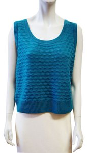 St. John Nwt Textured Wool Popcorn Texture Scoop Neck Shell Large Size 14 Size 16 Top Teal